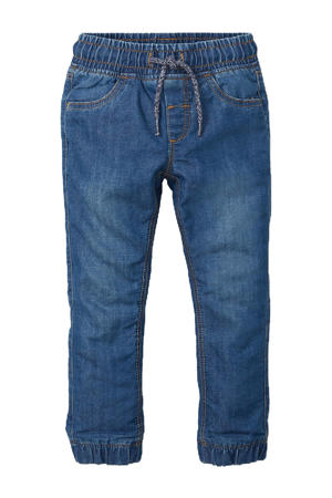 gevoerde thermo slim fit jeans stonewashed