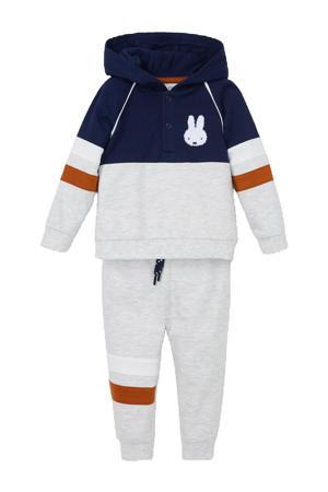 hoodie + joggingbroek donkerblauw/lichtgrijs melange/donker oranje