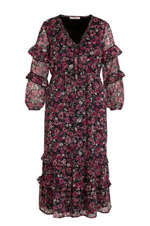 gebloemde semi-transparante maxi jurk roze/donkergroen/zwart