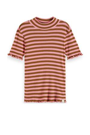 gestreept T-shirt bruin/roze