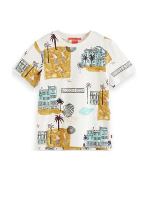 T-shirt met all over print wit/geel/groen