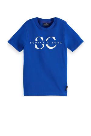 T-shirt met tekst blauw/wit