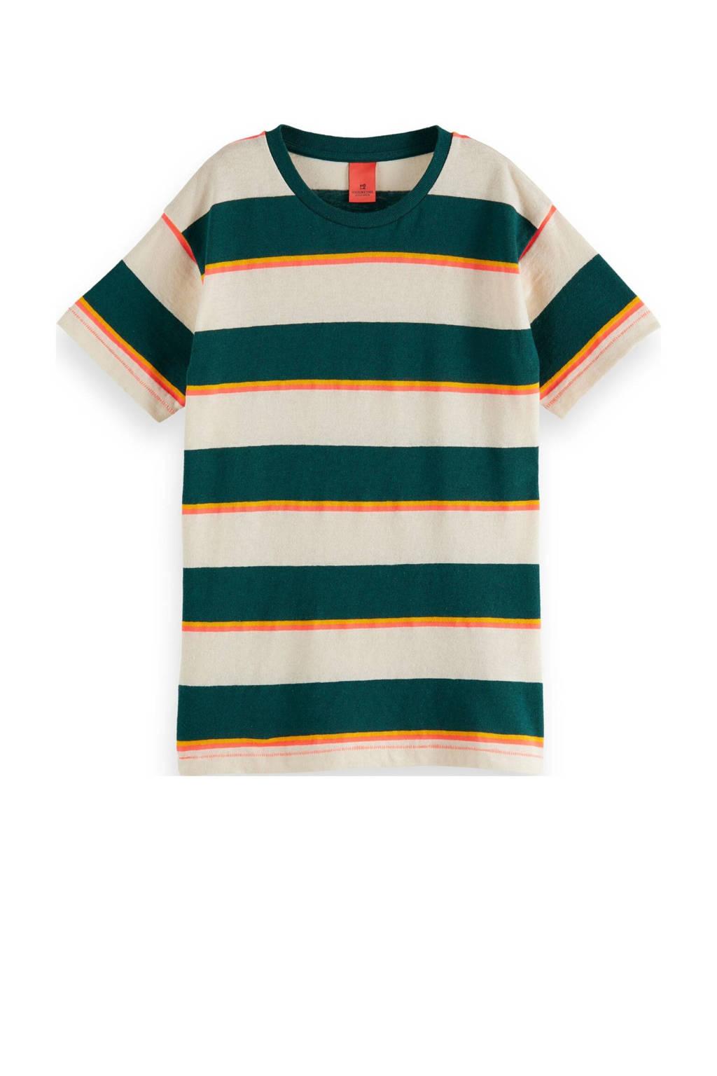 Scotch & Soda gestreept T-shirt groen/ecru/oranje, Groen/ecru/oranje