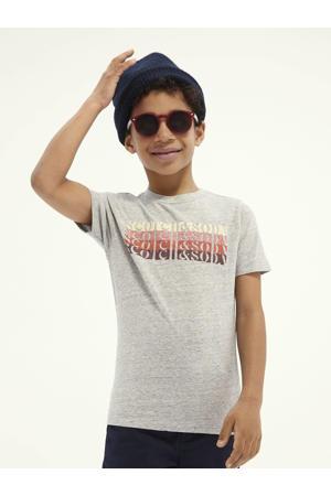 T-shirt met tekst grijs melange/rood/lichtgeel