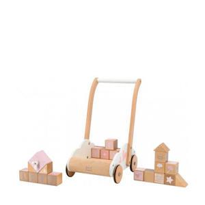 houten Loopwagen met educatieve blokken roze