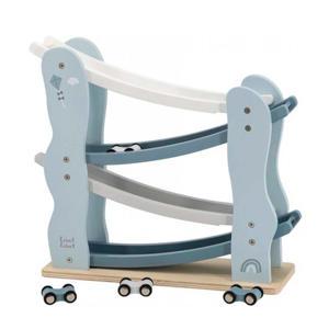 houten Auto glijbaan blauw