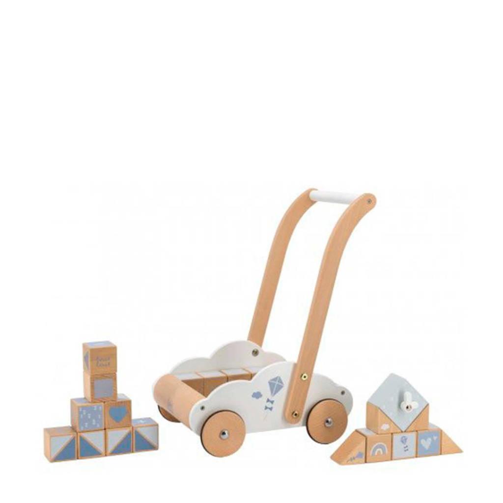 Label Label Wood houten Loopwagen met educatieve blokken blauw