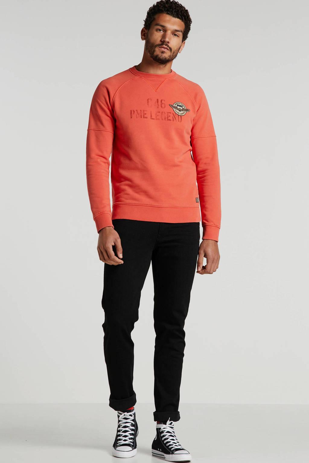 PME Legend sweater met printopdruk koraal, Koraalrood