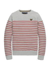 PME Legend gestreepte fijngebreide trui grijs melange/rood, Grijs melange/rood