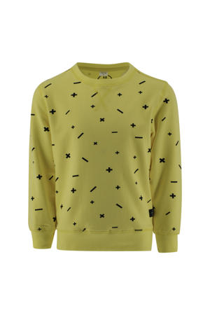 sweater Olaf met all over print mosterdgeel