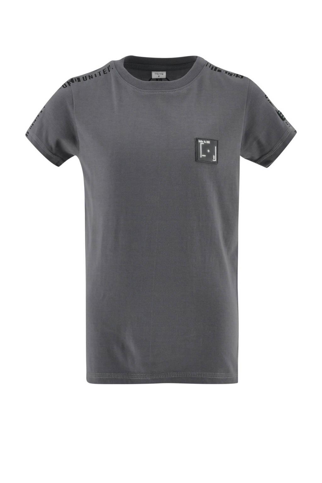 KIDDO T-shirt Troy met tekst zilvergrijs, Zilvergrijs