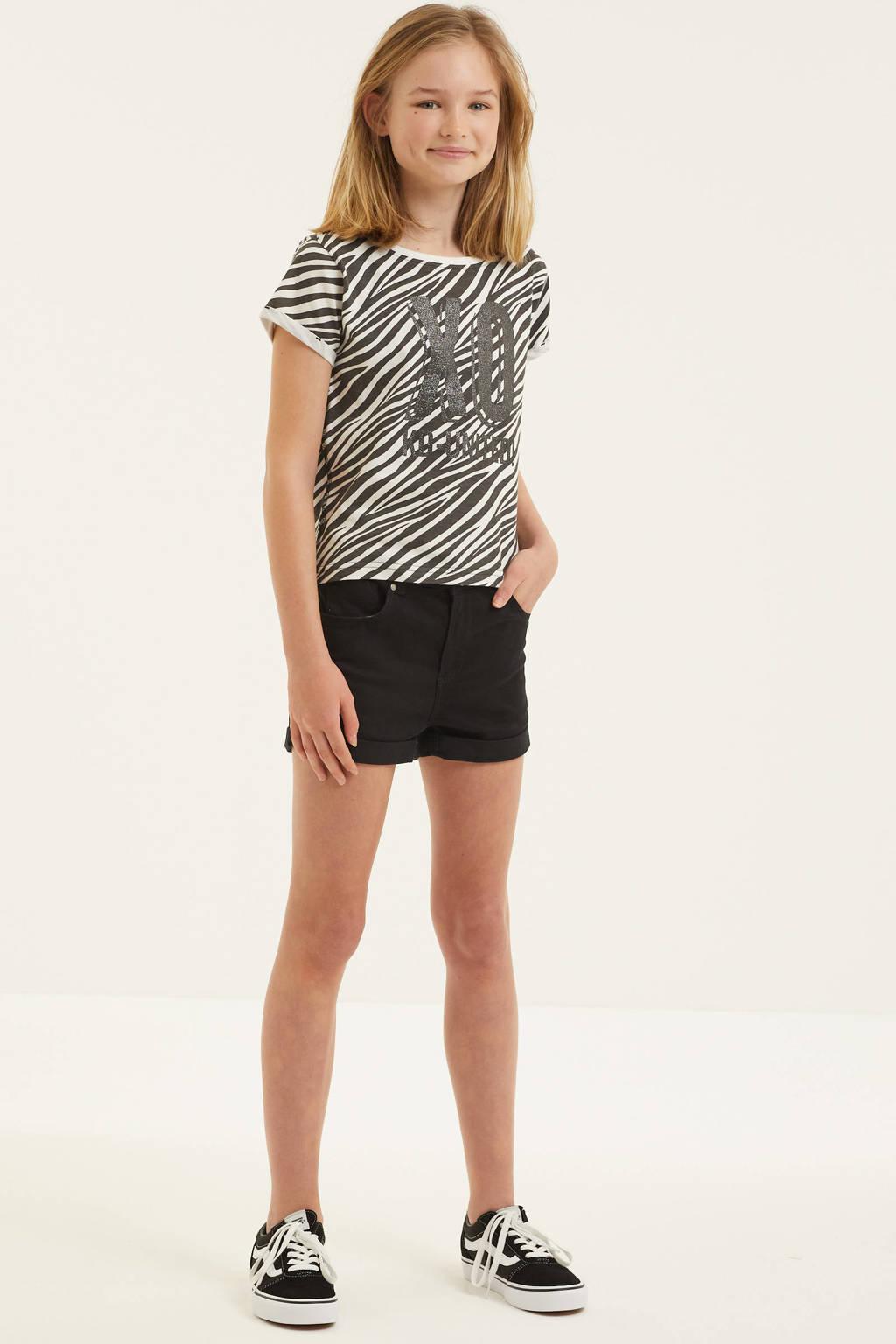 KIDDO T-shirt Els met zebraprint zwart/wit, Zwart/wit