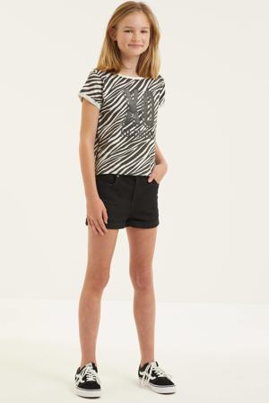 T-shirt Els met zebraprint zwart/wit