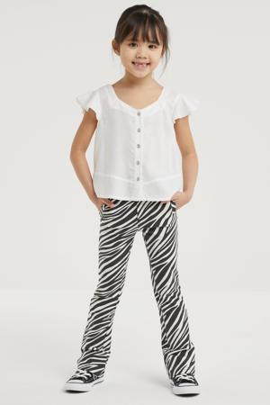 flared broek Lana met zebraprint zwart/wit