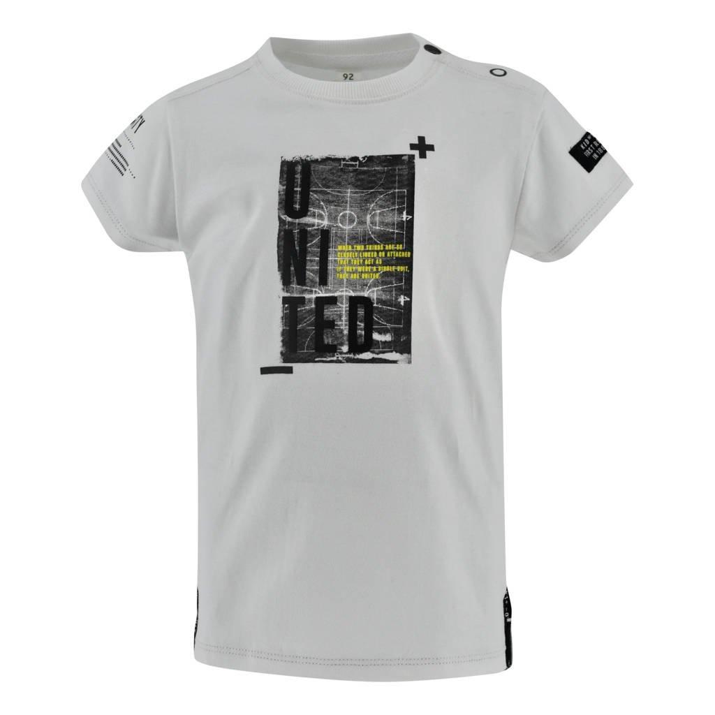 Born by Kiddo United T-shirt Pinky met printopdruk off white, Off White