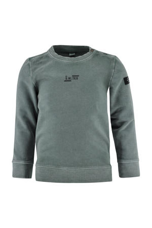 sweater Micha met tekst mintgroen
