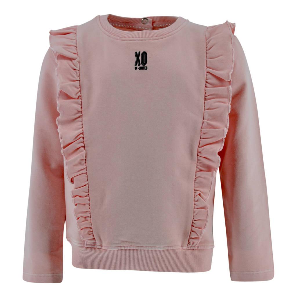 Born by Kiddo United sweater Angelique met ruches lichtroze, Lichtroze