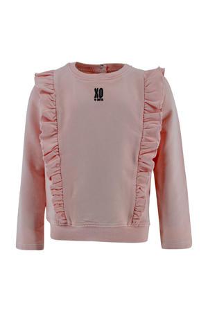 sweater Angelique met ruches lichtroze