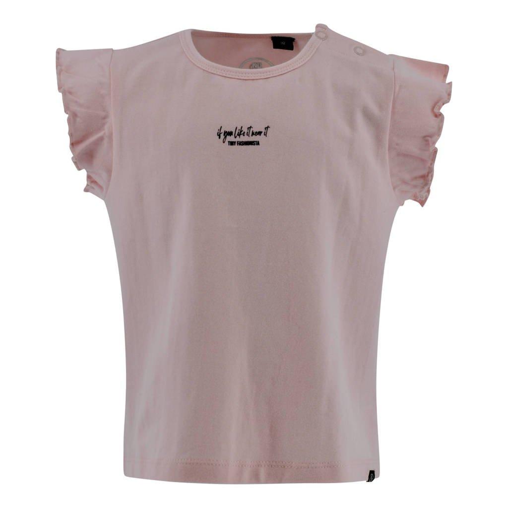 Born by Kiddo United T-shirt Felicia met ruches lichtroze, Lichtroze