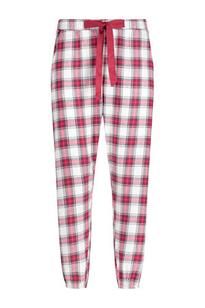 geruite pyjamabroek Twill rood/wit