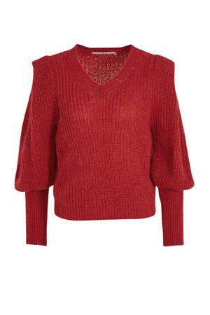 gebreide trui Mascha met pofmouwen rood