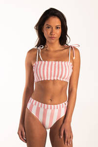 Beachlife x NINA gestreept high waist bikinibroekje roze/wit, Roze/wit
