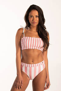 Beachlife x NINA gestreepte beugel bandeautop roze/wit, Roze/wit