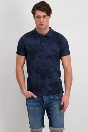 regular fit polo Mansol met all over print donkerblauw