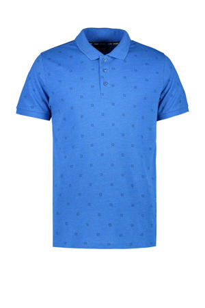 slim fit polo Rone met all over print kobaltblauw