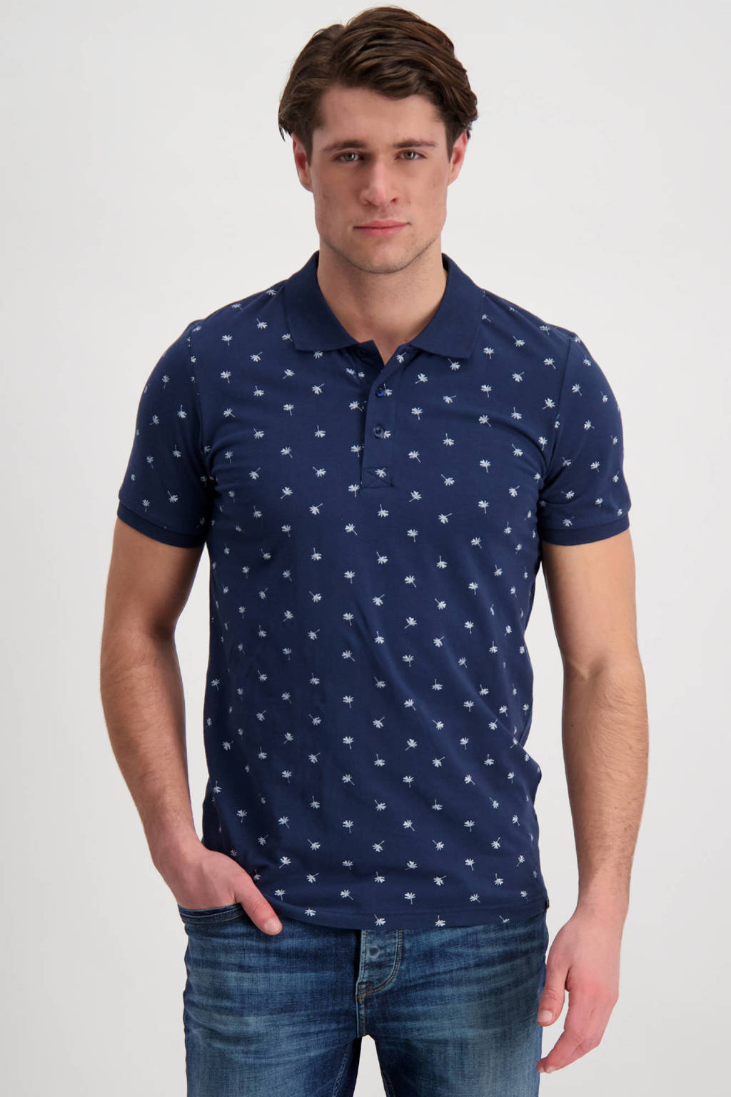 Cars regular fit polo Hyanis met all over print donkerblauw, Donkerblauw