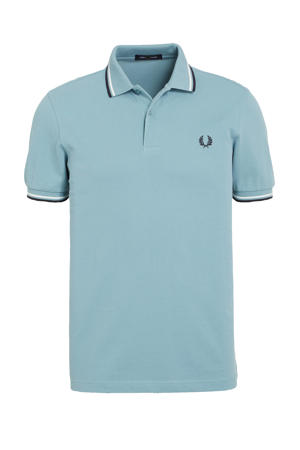 regular fit polo Twin Tipped lichtblauw/wit