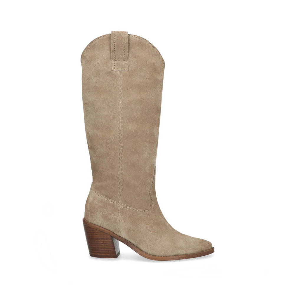 Manfield   suède cowboylaarzen taupe, Taupe