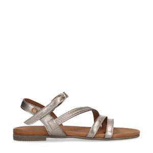 leren sandalen grijs/metallic