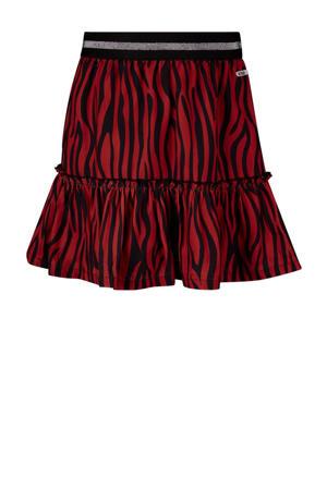 rok Robyn met zebraprint en volant rood/zwart