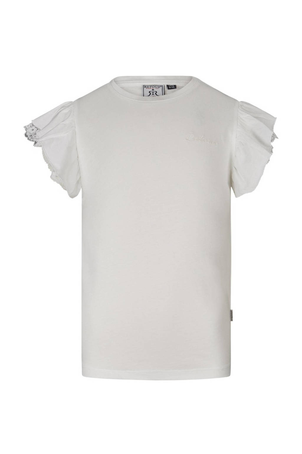 Retour Denim T-shirt Hanna met borduursels off white, Off White