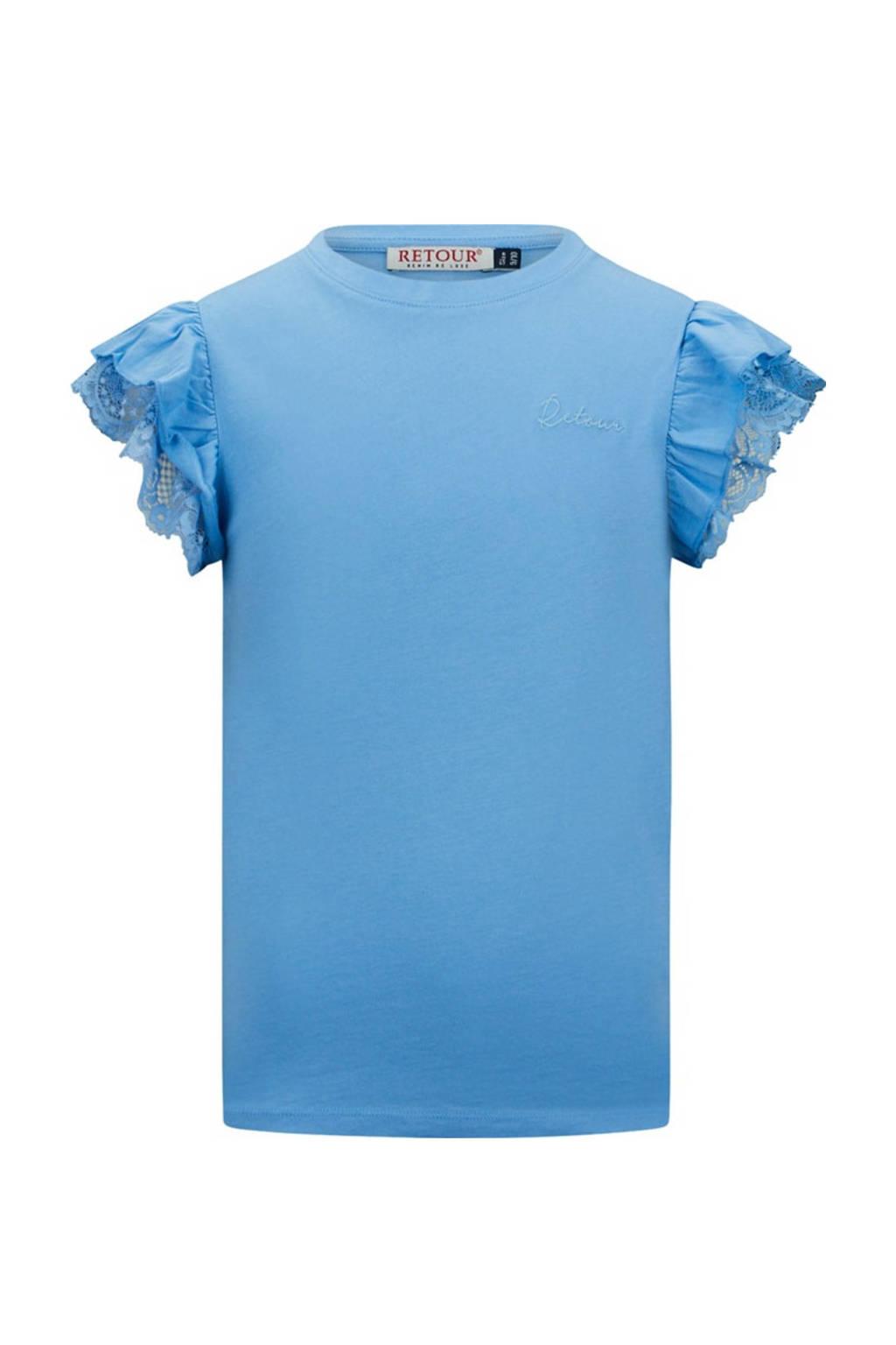 Retour Denim T-shirt Hanna met borduursels lichtblauw, Lichtblauw