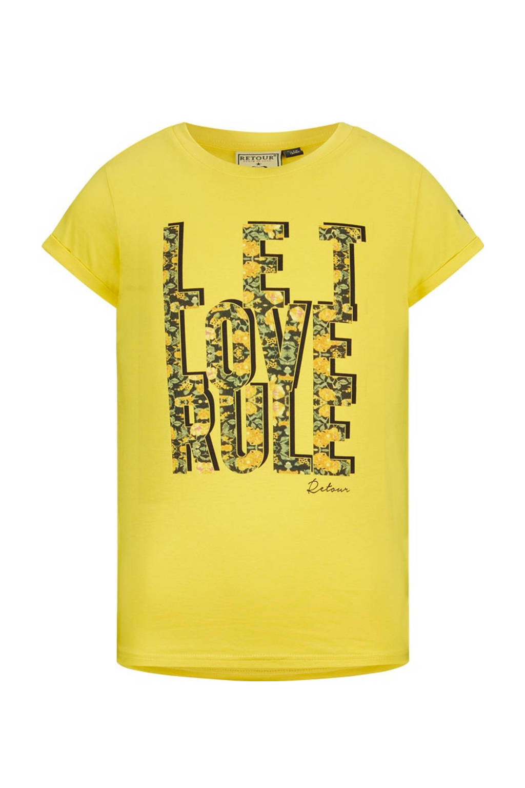 Retour Denim T-shirt Bibi van biologisch katoen geel, Geel