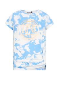 Retour Denim tie-dye T-shirt Deena van biologisch katoen lichtblauw/wit, Lichtblauw/wit