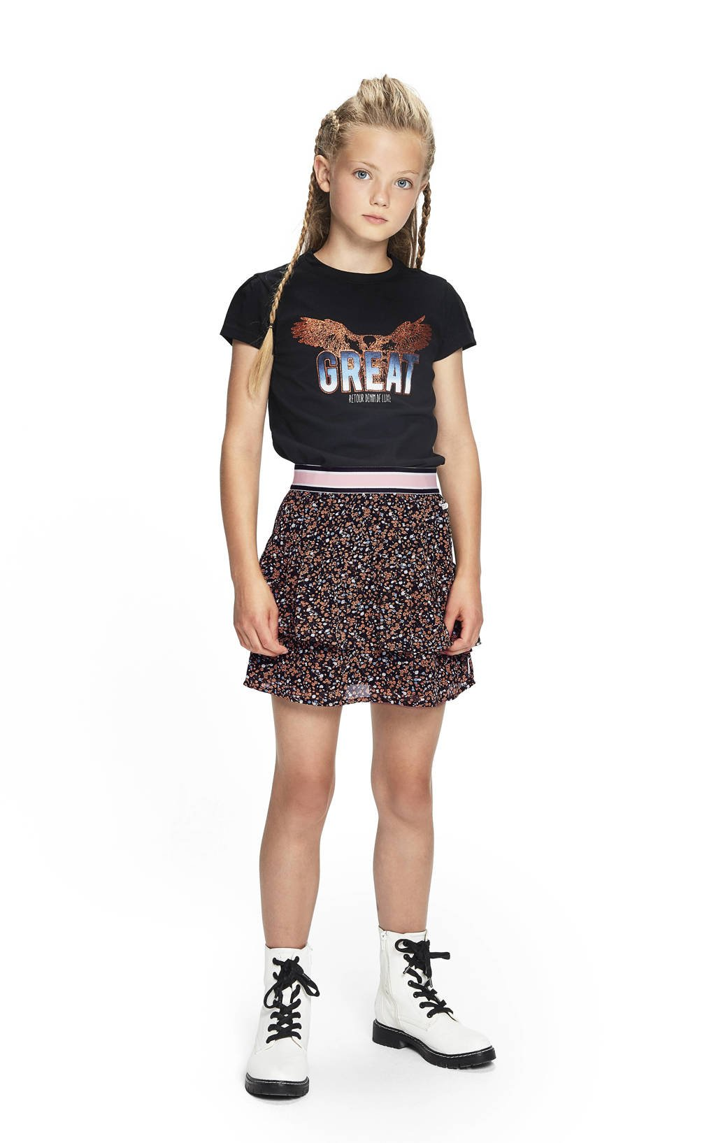 Retour Denim gebloemde rok Ellen zwart/lichtbruin, Zwart/lichtbruin