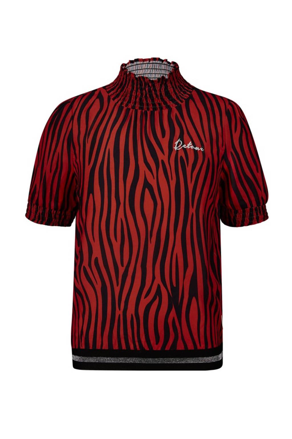 Retour Denim top Fleur met zebraprint rood/zwart, Rood/zwart