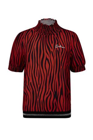 top Fleur met zebraprint rood/zwart
