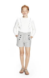 Retour Denim gestreepte high waist regular fit short Lindsey offwhite/zwart, Offwhite/zwart
