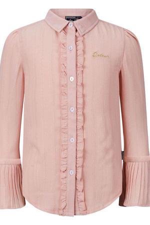 blouse Erica met ruches zalmroze