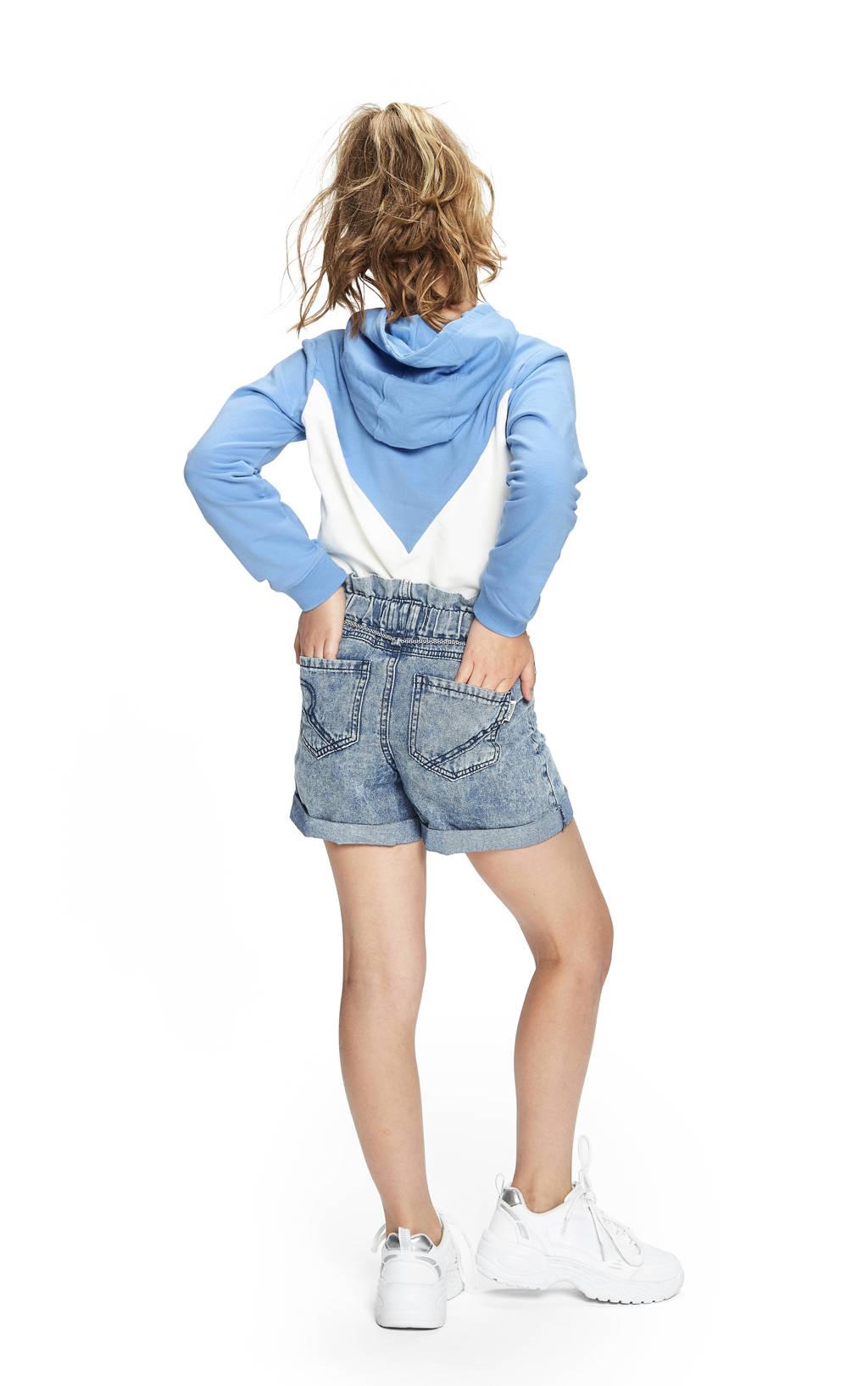 Retour Denim hoodie Jaimy lichtblauw/wit/zalm, Lichtblauw/wit/zalm