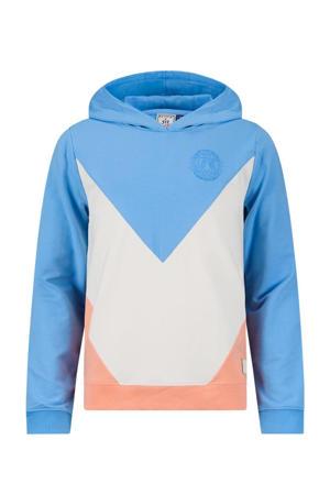 hoodie Jaimy lichtblauw/wit/zalm
