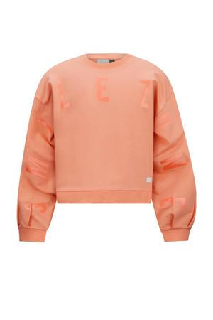 sweater Lois met tekst perzik