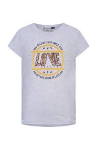 Retour Denim T-shirt Diaz van biologisch katoen lichtgrijs melange, Lichtgrijs melange