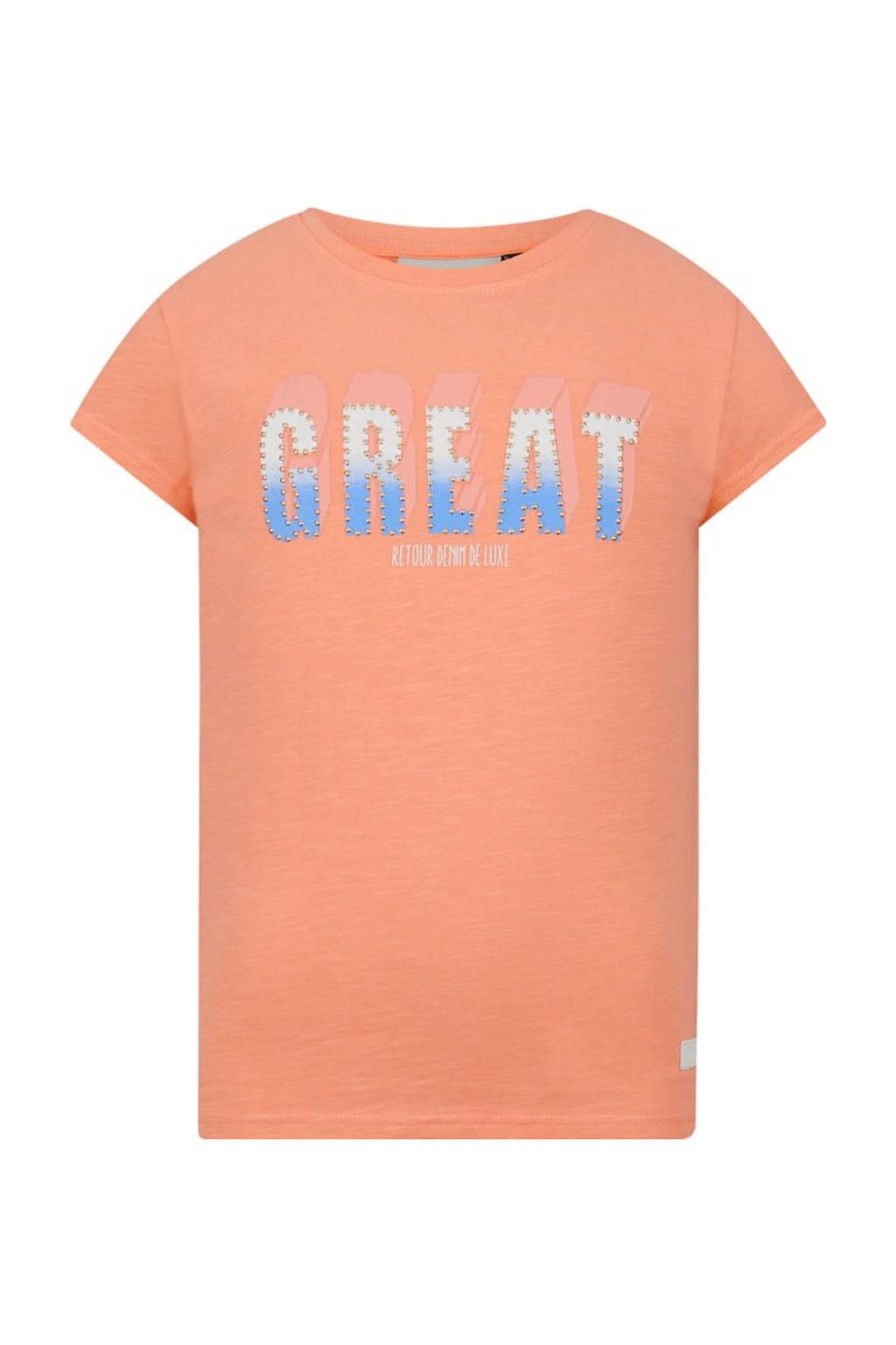 Retour Denim T-shirt Victoria van biologisch katoen zalmroze, Zalmroze
