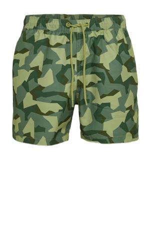 zwemshort Sylvester met camouflage print groen