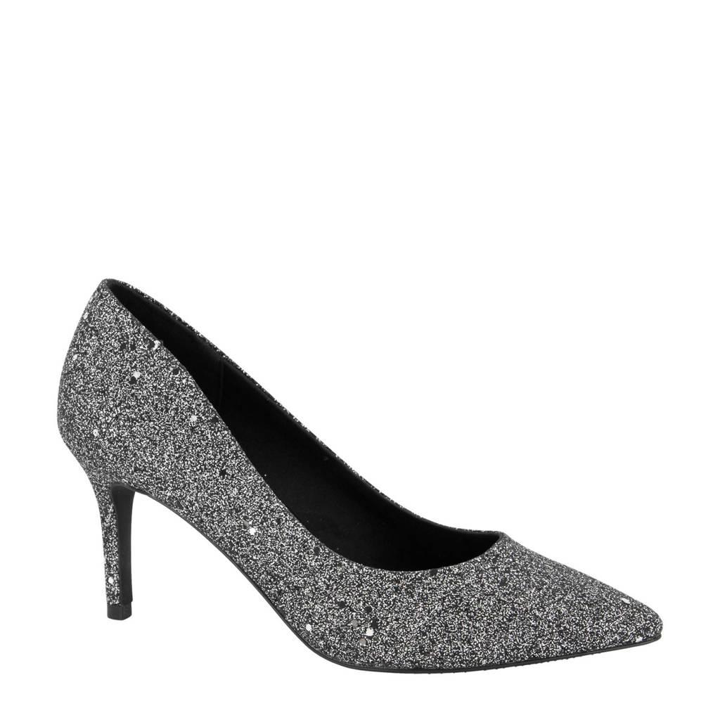 Graceland   pumps met glitters zilver, Zilver/zwart